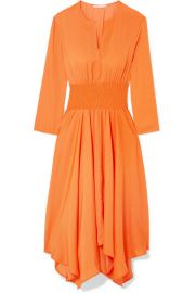 Maje   Shirred voile midi dress at Net A Porter
