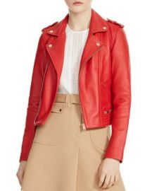 Maje Basalt Leather Motorcycle Jacket   Bloomingdale  39 s at Bloomingdales