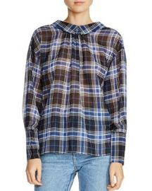 Maje Lancha Ruched Plaid Top at Bloomingdales