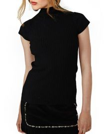 Maje Maestro Ribbed Mock-Neck Top at Bloomingdales