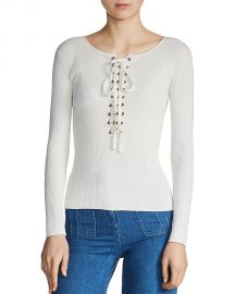 Maje Matana Lace-Up Sweater Ecru at Bloomingdales