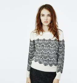 Maje Mesh Sweater with Applied Lace at Maje