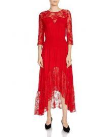 Maje Ritema Asymmetric Lace Midi Dress at Bloomingdales