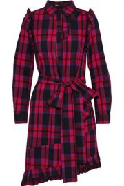 Maje Ruffled Plaid Dress at The Outnet