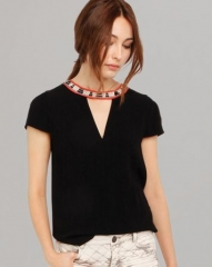 Maje Tee - Fraiche Woven Neck at Bloomingdales