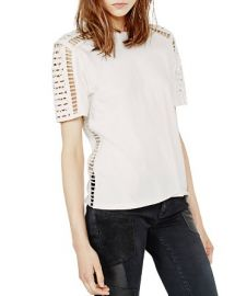 Maje Titre Embroidered Cutout Tee at Bloomingdales
