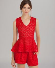 Maje Top - Lace Peplum in red at Bloomingdales
