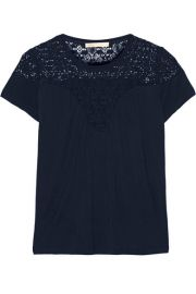 MajeandnbspandnbspTwister jersey and lace top at Net A Porter