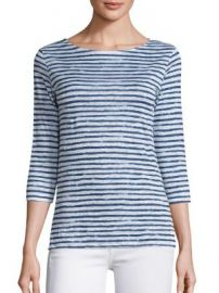 Majestic Filatures - Striped Linen Tee at Saks Fifth Avenue