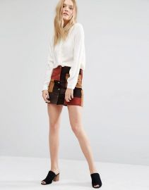 Mango   Mango Suede Patchwork Skirt at Asos