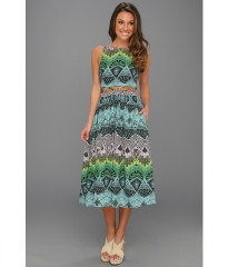Wornontv Carrie S Blue And Green Midi Dress With Waist Cutout And