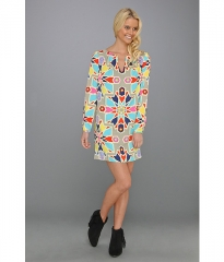 Mara Hoffman Long Sleeve Shift Dress Compass Stone at 6pm