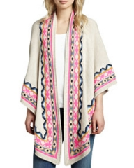 Mara Hoffman Pattern-Trim Knit Shawl with Eye at Neiman Marcus