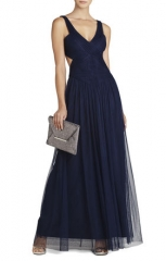 Mara gown in navy at Bcbgmaxazria
