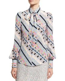 Marc Jacobs Printed Tie-Neck Bishop-Sleeve Blouse at Neiman Marcus