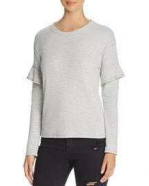 Marc New York Performance Ruffle Trim Striped Thermal Top x at Bloomingdales