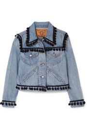 Marc Jacobs   Cropped pompom-embellished denim jacket at Net A Porter