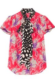 Marc Jacobs   Pussy-bow printed silk-satin blouse at Net A Porter