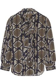 Marc Jacobs   Pussy-bow snake-print silk-crepe blouse at Net A Porter