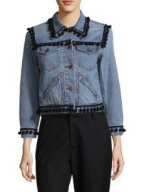 Marc Jacobs - Shrunken Pom-Pom Cropped Denim Jacket at Saks Fifth Avenue