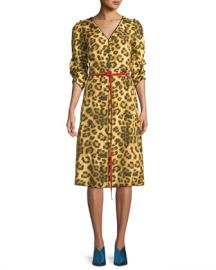 Marc Jacobs V-Neck 3 4-Sleeves Belted Leopard-Print Dress w  Contrast Back at Neiman Marcus