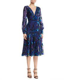 Marchesa Notte Floral Velvet Burnout Bishop-Sleeve Dress at Neiman Marcus