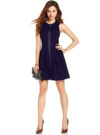 Marciano Dress Sleeveless High-Neck Zipper A-Line in Blue at Macys