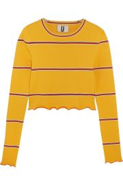Margot striped stretch-knit top by Topshop at Net A Porter
