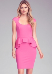 Mariah pink peplum dress at Bebe