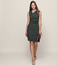 Marie cowl neck shift dress at Reiss
