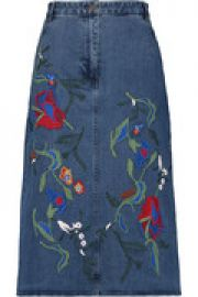 Marisol embroidered denim midi skirt at The Outnet