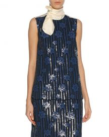 Marni Sequined Flowerbed Tie-Neck Top  Blue at Neiman Marcus
