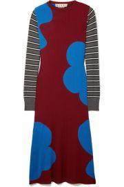 Marni   Printed ribbed wool midi dress at Net A Porter