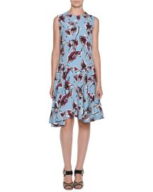 Marni Dropped-Waist Floral-Print Dress  Illusion Blue at Neiman Marcus