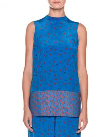 Marni High-Neck Sleeveless Printed Tunic Blouse   Neiman Marcus at Neiman Marcus