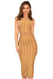 Marzena Camel and- Gold Self Stripe Bandage Midi Dress at House of CB