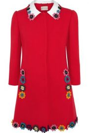 Mason floral-appliqu  wool-crepe coat at The Outnet