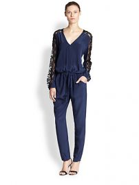 Mason by Michelle Mason - Sheer Lace-Paneled Silk Jumpsuit at Saks Fifth Avenue