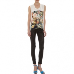Mason by Michelle Mason Floral Print Front Sleeveless Tee at Barneys