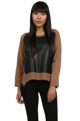 Mason by Michelle Mason Leather Front Sweater at Couture Candy