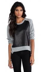 Mason by Michelle Mason Leather Front Sweater in Grey  REVOLVE at Revolve