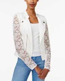 Material Girl Juniors  Lace Moto Jacket in Egret at Macys