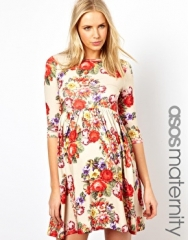 Maternity Skater Dress With Slash Neck in Tapestry Floral at Asos