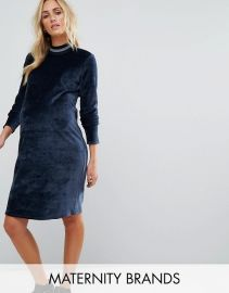 Maternity Velvet Bodycon Dress With Metallic Tipping by Asos at ASOS