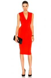 Matte Jersey Sleeveless V Neck Fitted Dress at Forward