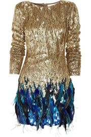 Matthew Williamson   Sequin and feather hand-woven dress at Net A Porter