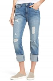 Mavi Jeans Brenda Distressed Roll Cuff Boyfriend Jeans  Light Indigo Vintage at Nordstrom