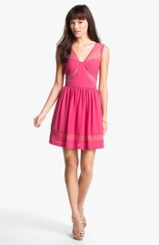 Max andamp Cleo Lace Inset Crepe Fit andamp Flare Dress at Nordstrom