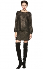 Mayer gold boxy raglan top at Alice + Olivia