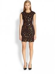 McQ Alexander McQueen - Metallic Swallow-Print Body-Con Dress at Saks Fifth Avenue